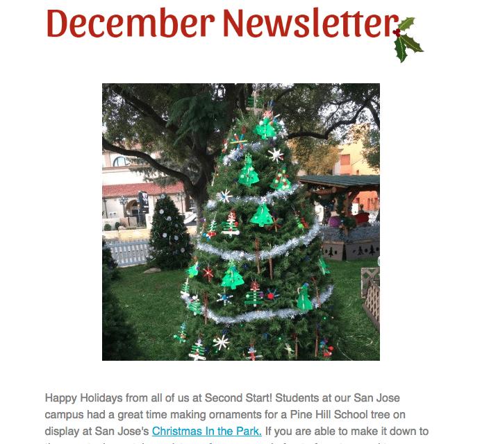 Screenshot of the December Newsletter